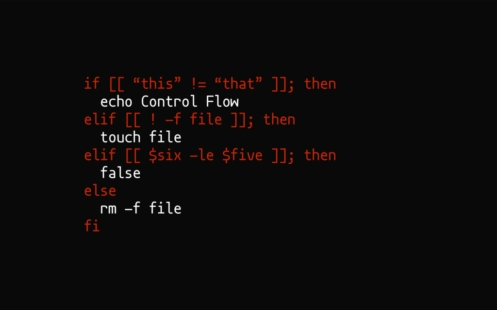 "if [[ ""this"" != ""that"" ]]; then echo Control Fl..."