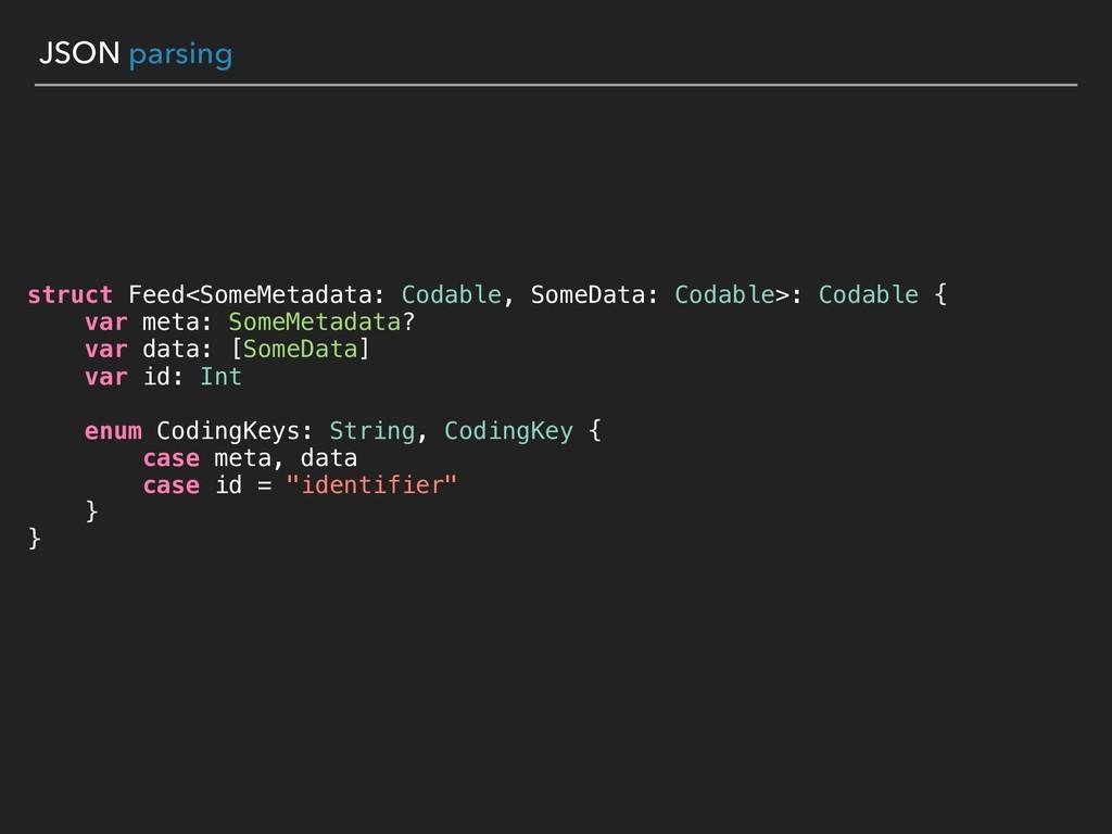 JSON parsing struct Feed<SomeMetadata: Codable,...