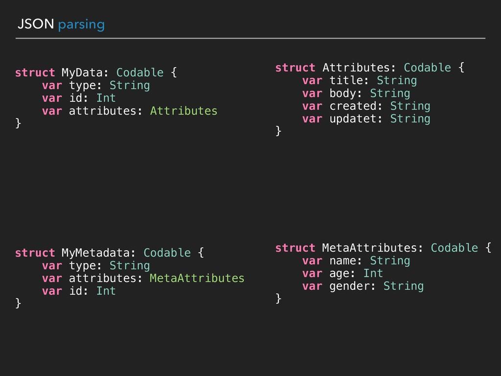 JSON parsing struct MyData: Codable { var type:...