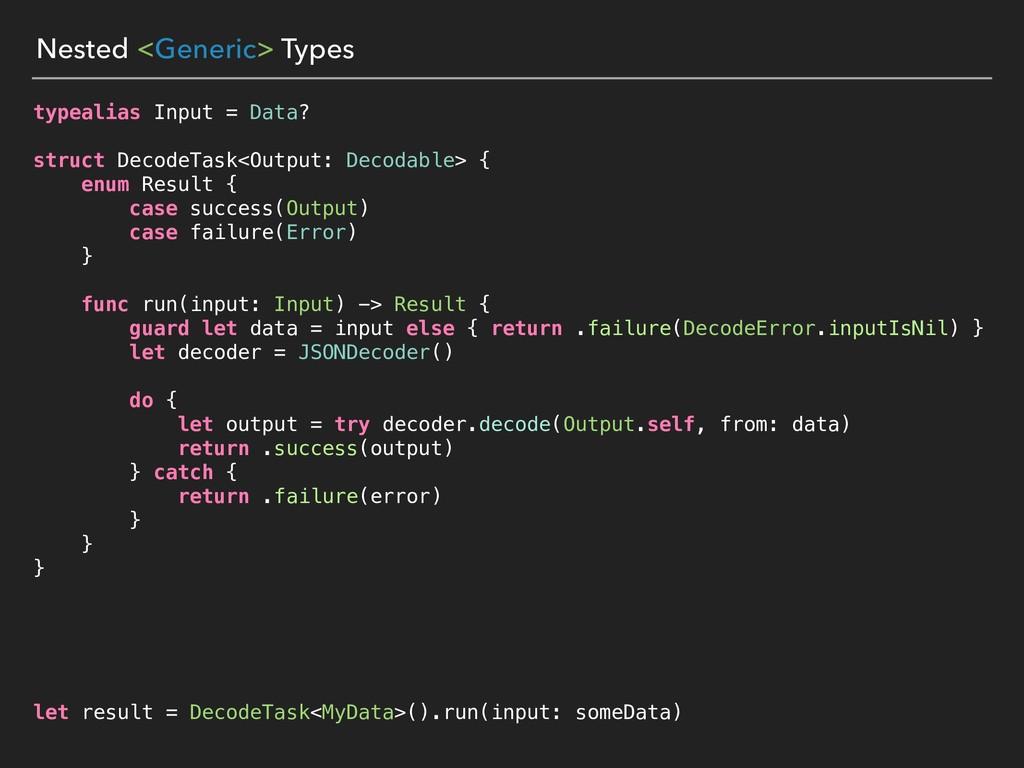 Nested <Generic> Types typealias Input = Data? ...