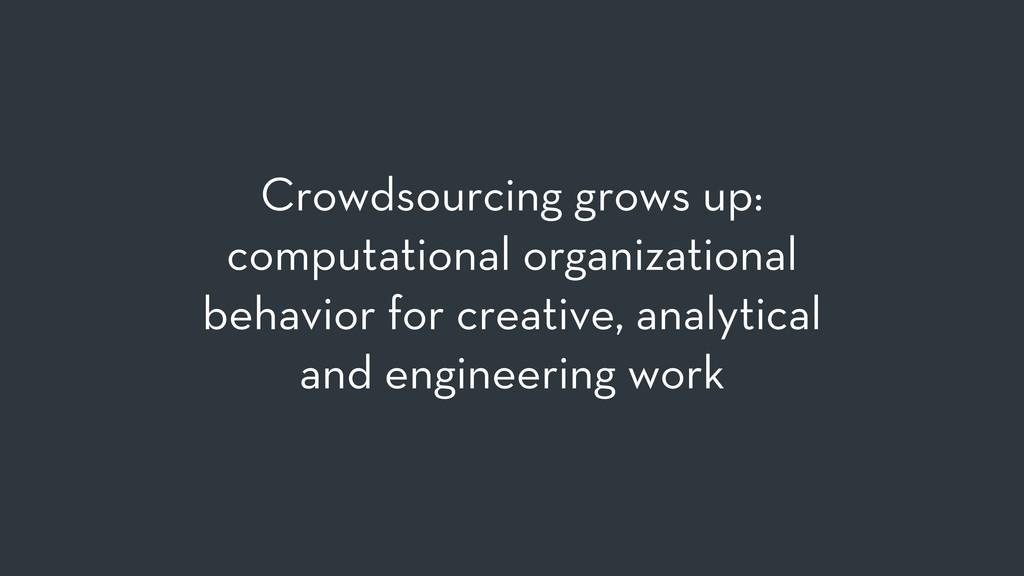Crowdsourcing grows up: computational organizat...