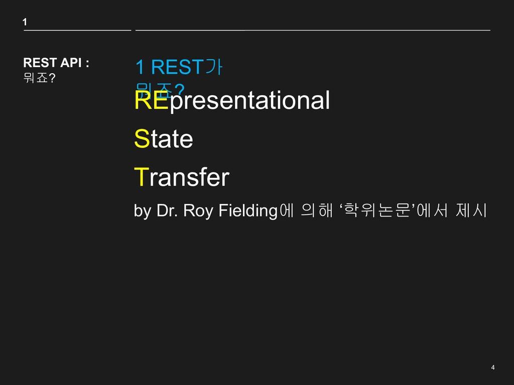4 1 REST가 뭐죠? 1 REST API : 뭐죠? REpresentational...