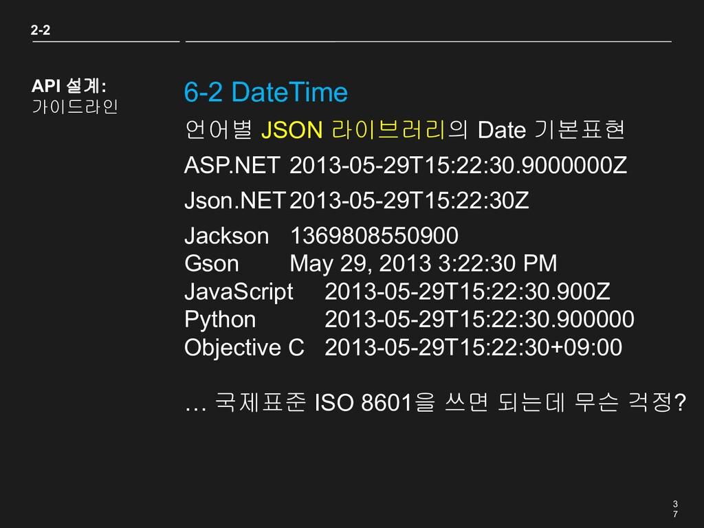 3 7 6-2 DateTime 2-2 API 설계: 가이드라인 언어별 JSON 라이브...