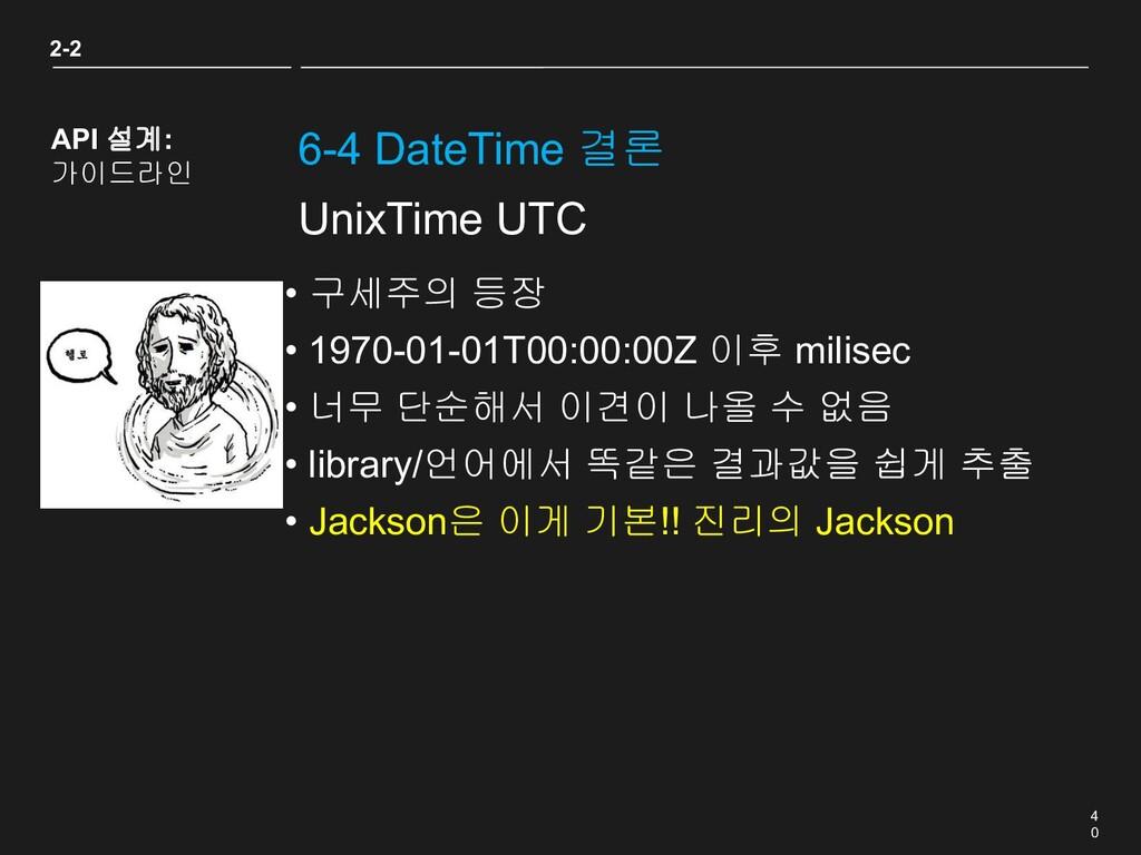 4 0 6-4 DateTime 결론 2-2 API 설계: 가이드라인 UnixTime ...