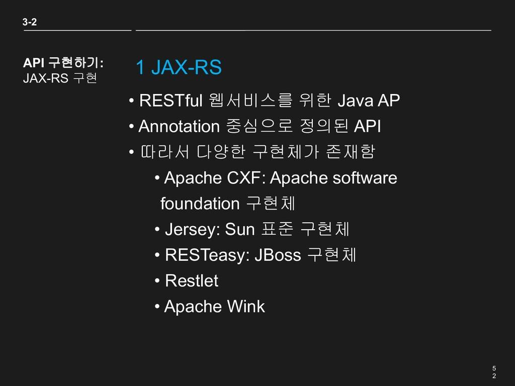 5 2 1 JAX-RS • RESTful 웹서비스를 위한 Java AP • Annot...