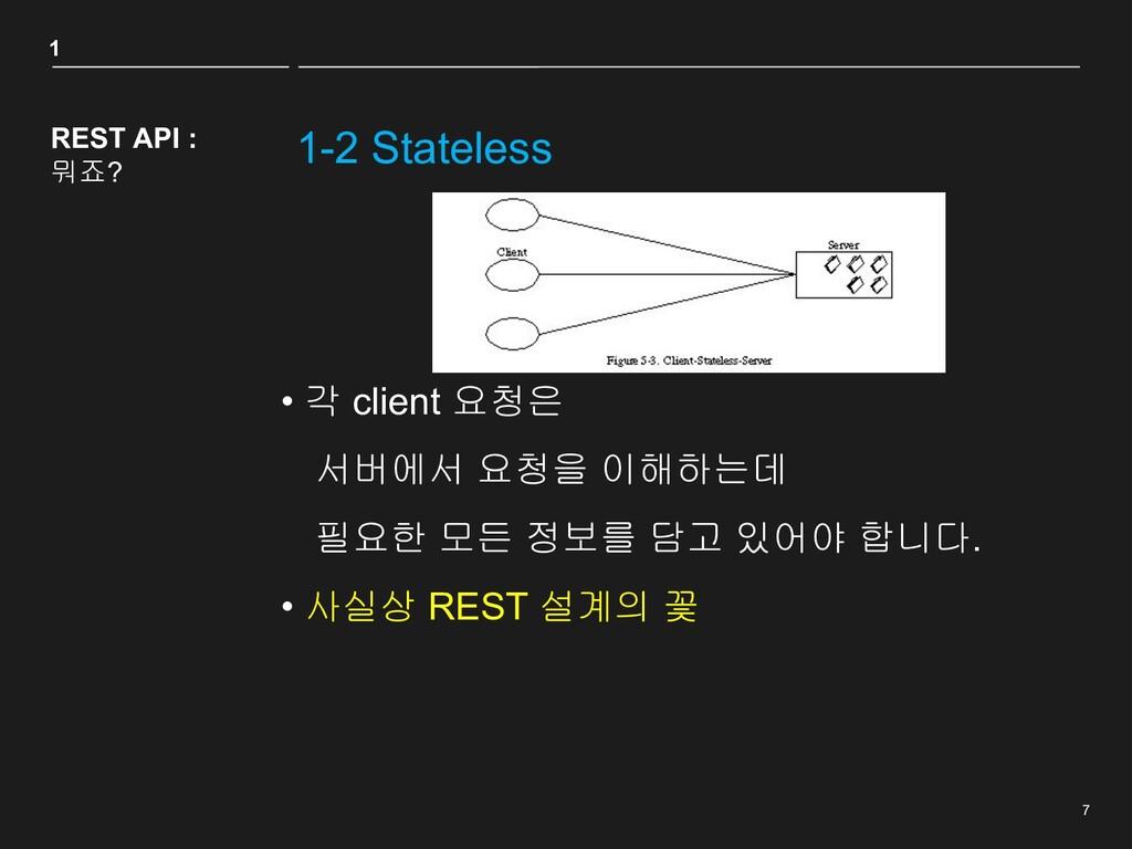 7 1-2 Stateless REST API : 뭐죠? • 각 client 요청은 서...