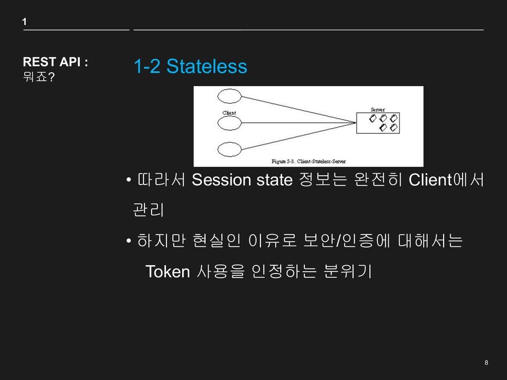 8 1-2 Stateless REST API : 뭐죠? • 따라서 Session st...