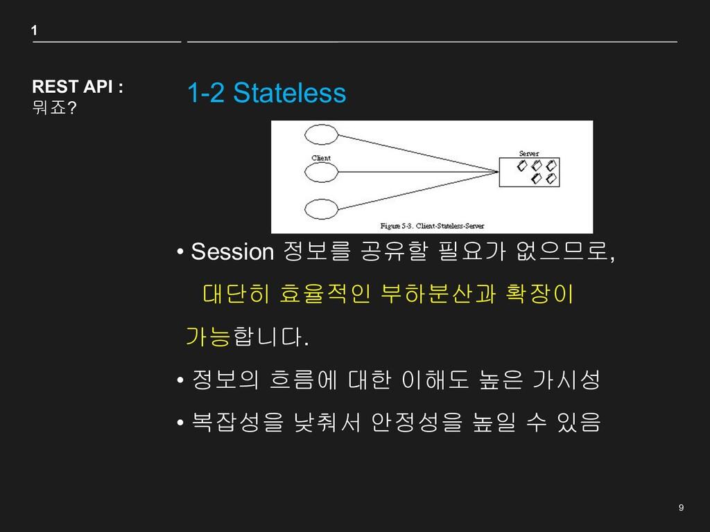 9 1-2 Stateless REST API : 뭐죠? • Session 정보를 공유...