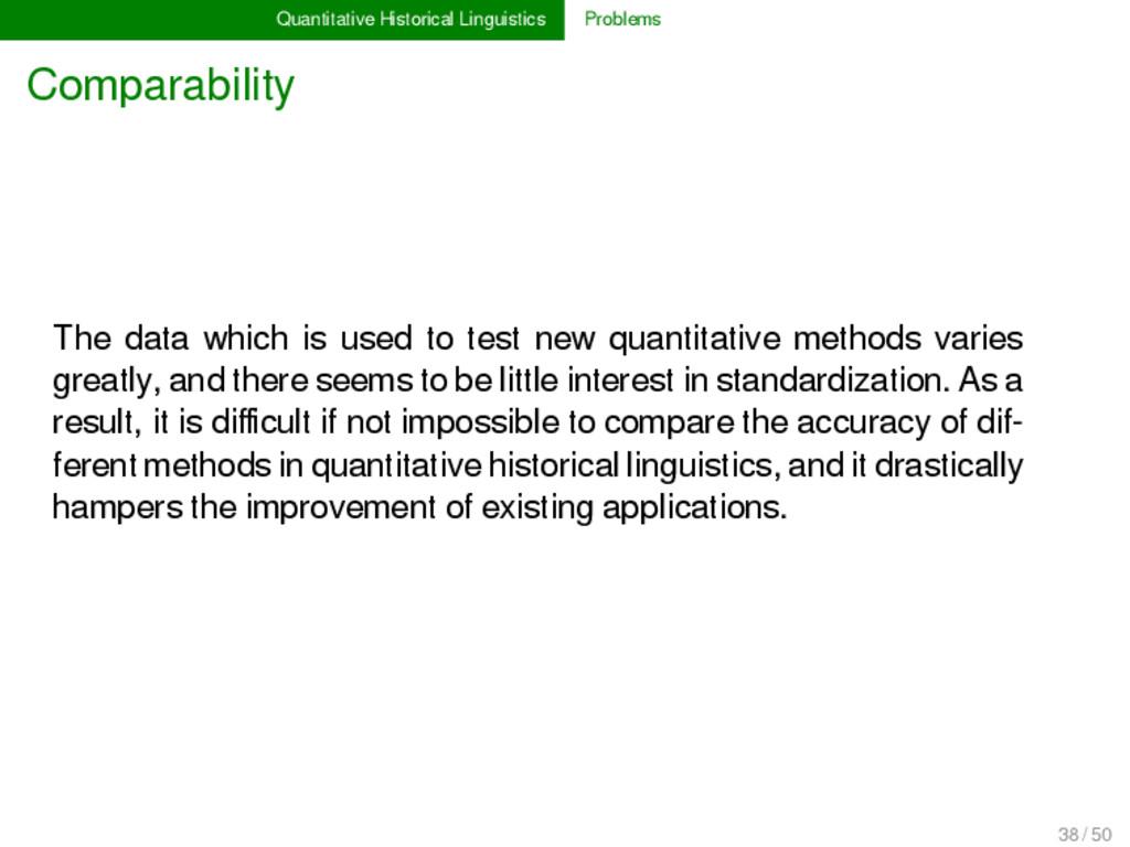 Quantitative Historical Linguistics Problems Co...