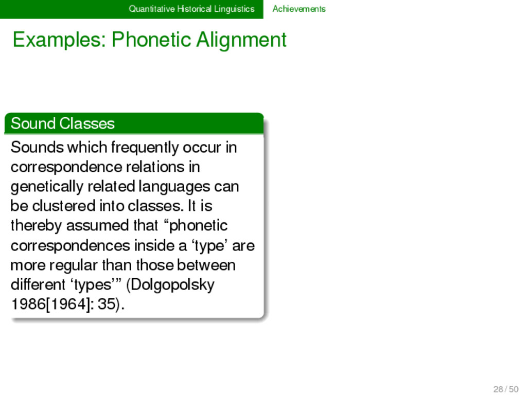 Quantitative Historical Linguistics Achievement...