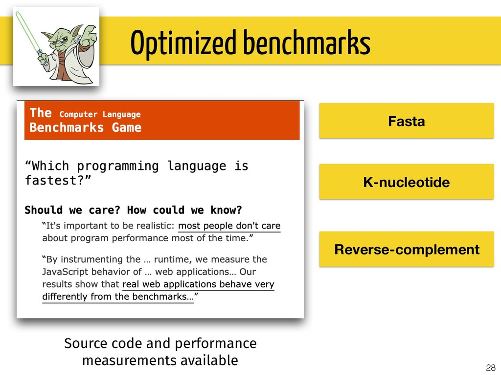 28 Optimized benchmarks Fasta K-nucleotide Reve...