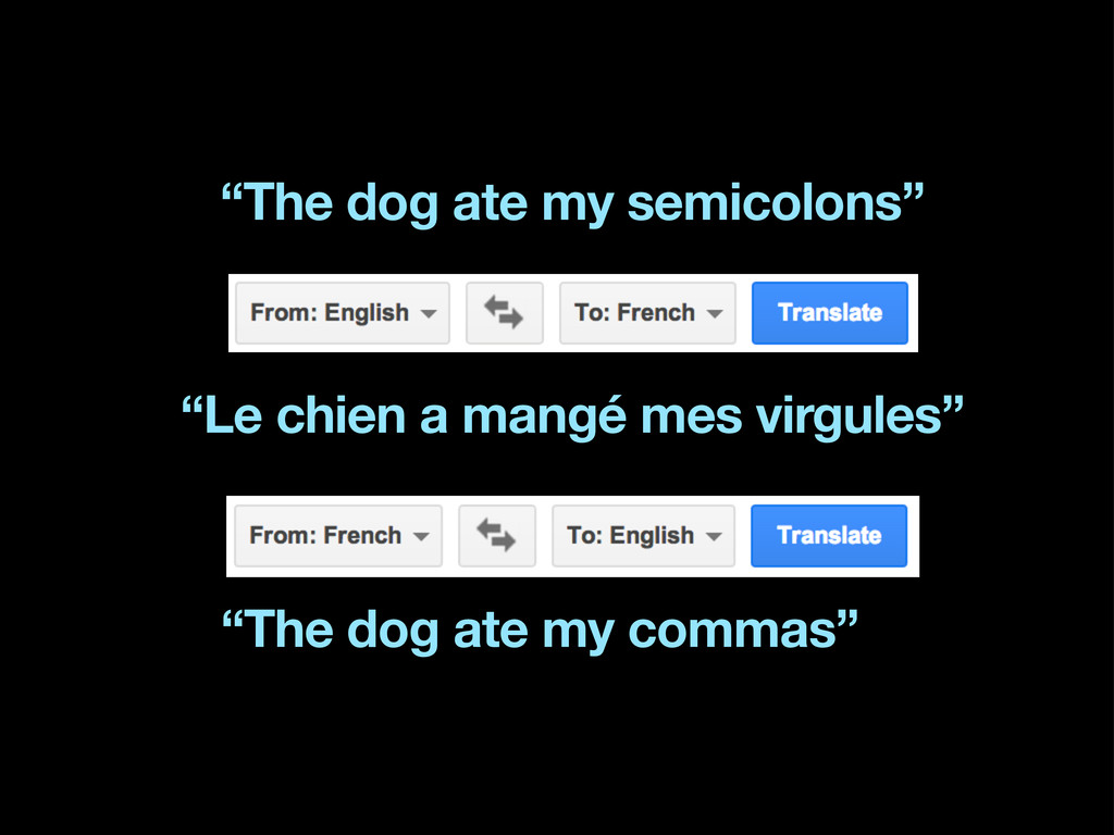 """The dog ate my semicolons"" ""The dog ate my com..."