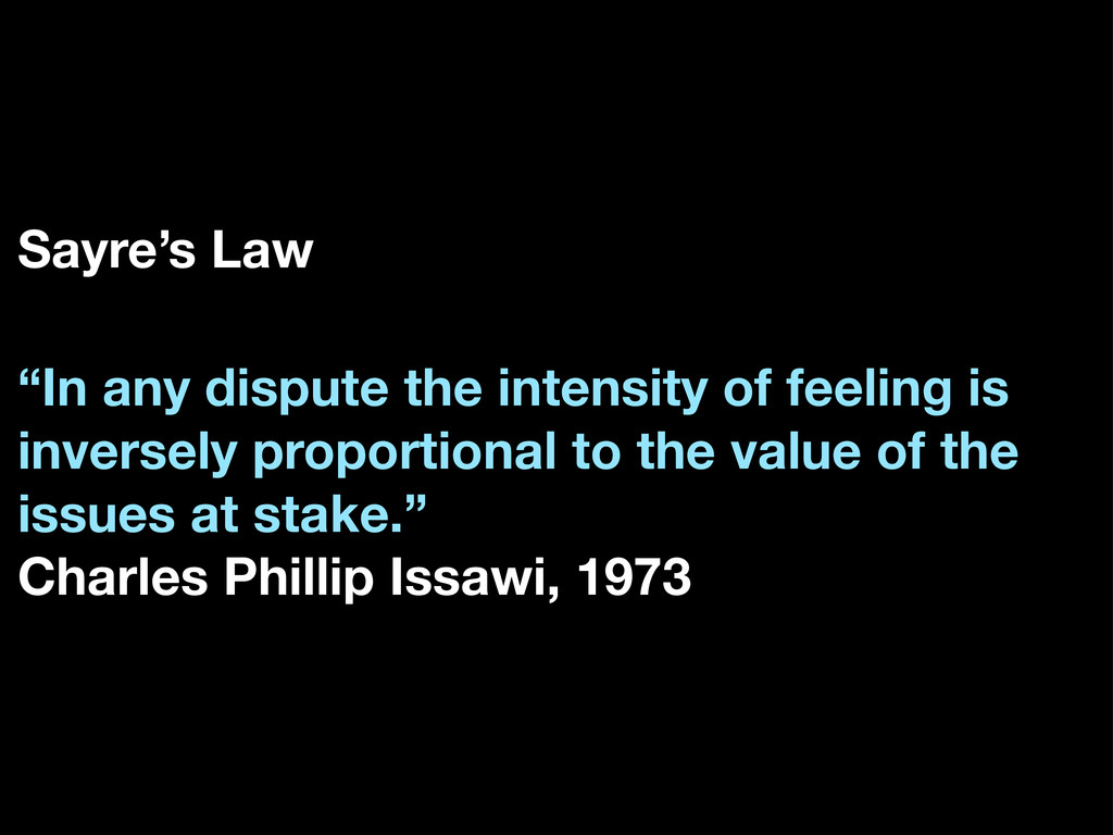 "Sayre's Law ""In any dispute the intensity of fe..."