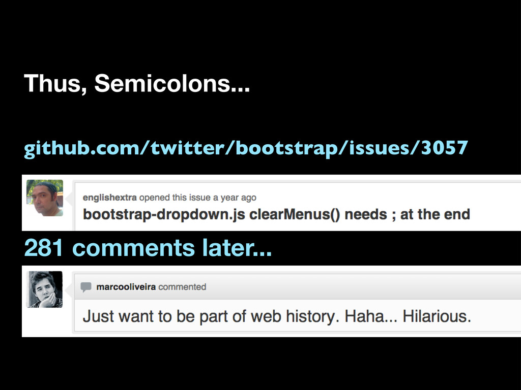 Thus, Semicolons... 281 comments later... githu...