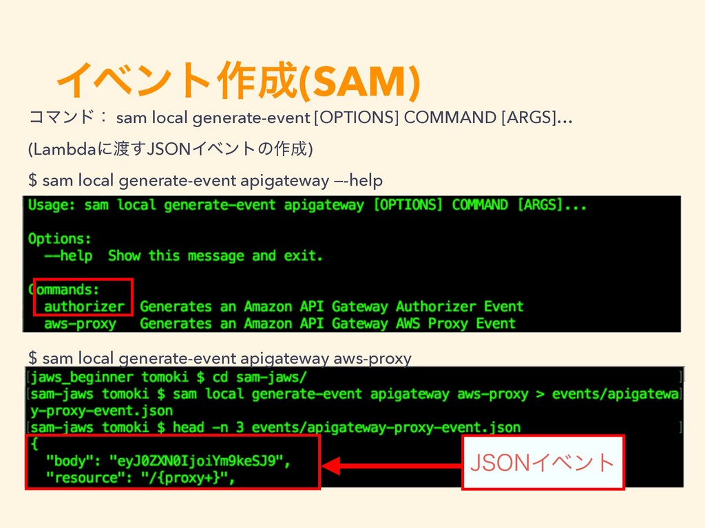 Πϕϯτ࡞੒(SAM) ίϚϯυɿ sam local generate-event [OPT...