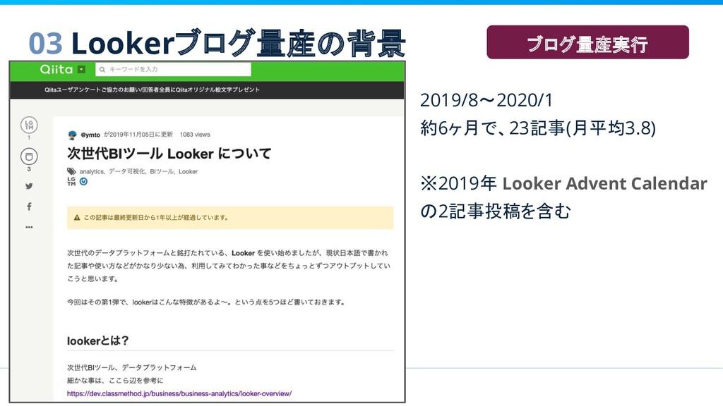 2019/8〜2020/1 約6ヶ月で、23記事(月平均3.8) ※2019年 Looker ...