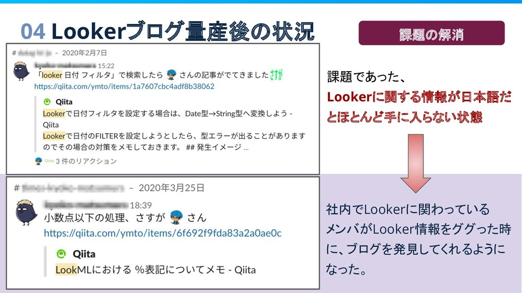 04 Lookerブログ量産後の状況 社内でLookerに関わっている メンバがLooker情...
