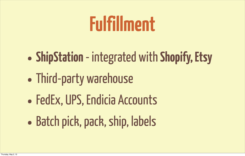 Fulfillment • ShipStation - integrated with Sho...