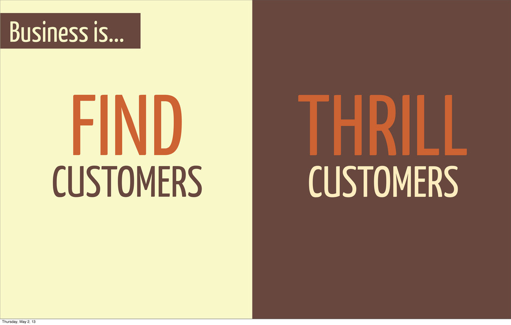 Business is... FIND CUSTOMERS THRILL CUSTOMERS ...