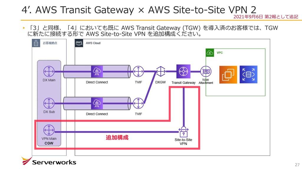4'. AWS Transit Gateway × AWS Site-to-Site VPN ...