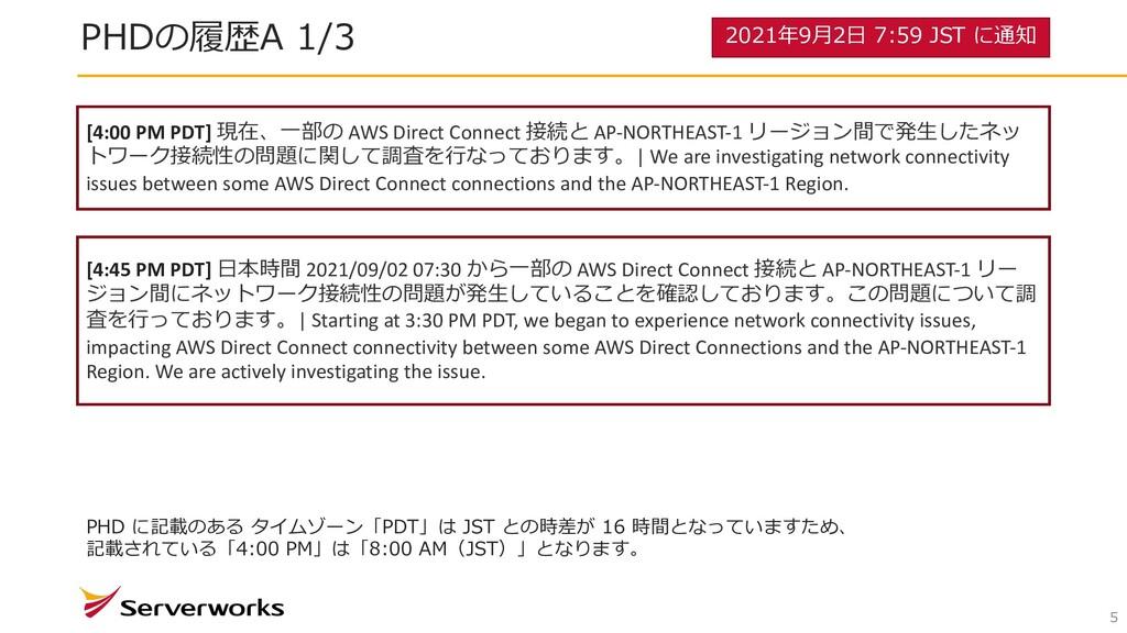 5 PHDの履歴A 1/3 [4:00 PM PDT] 現在、⼀部の AWS Direct C...