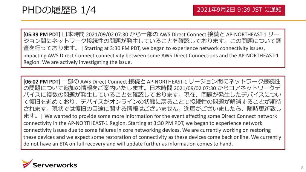8 PHDの履歴B 1/4 [05:39 PM PDT] ⽇本時間 2021/09/02 07...