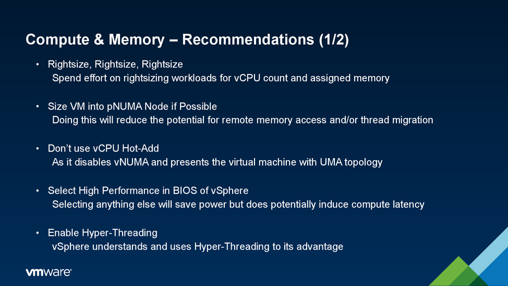Compute & Memory – Recommendations (1/2) • Righ...