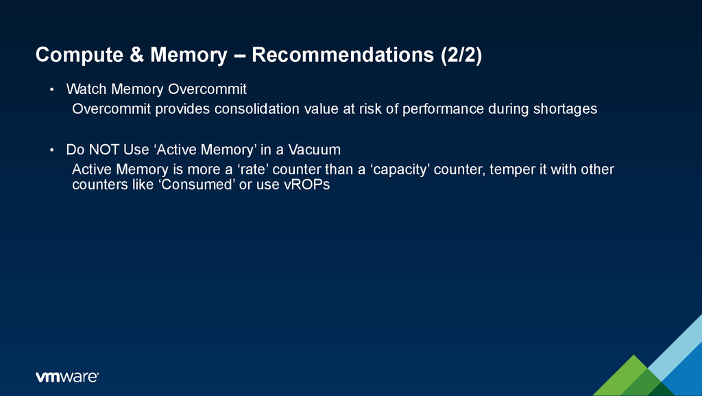 Compute & Memory – Recommendations (2/2) • Watc...