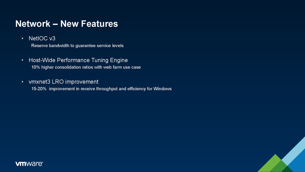 Network – New Features • NetIOC v3 Reserve band...