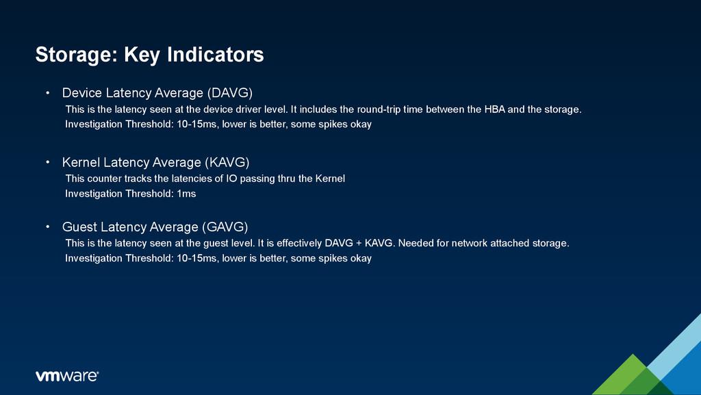 Storage: Key Indicators • Device Latency Averag...