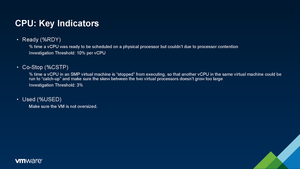 CPU: Key Indicators • Ready (%RDY) % time a vCP...