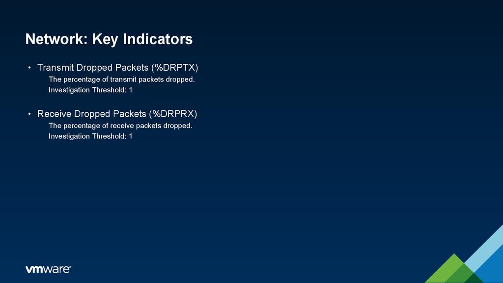 Network: Key Indicators • Transmit Dropped Pack...