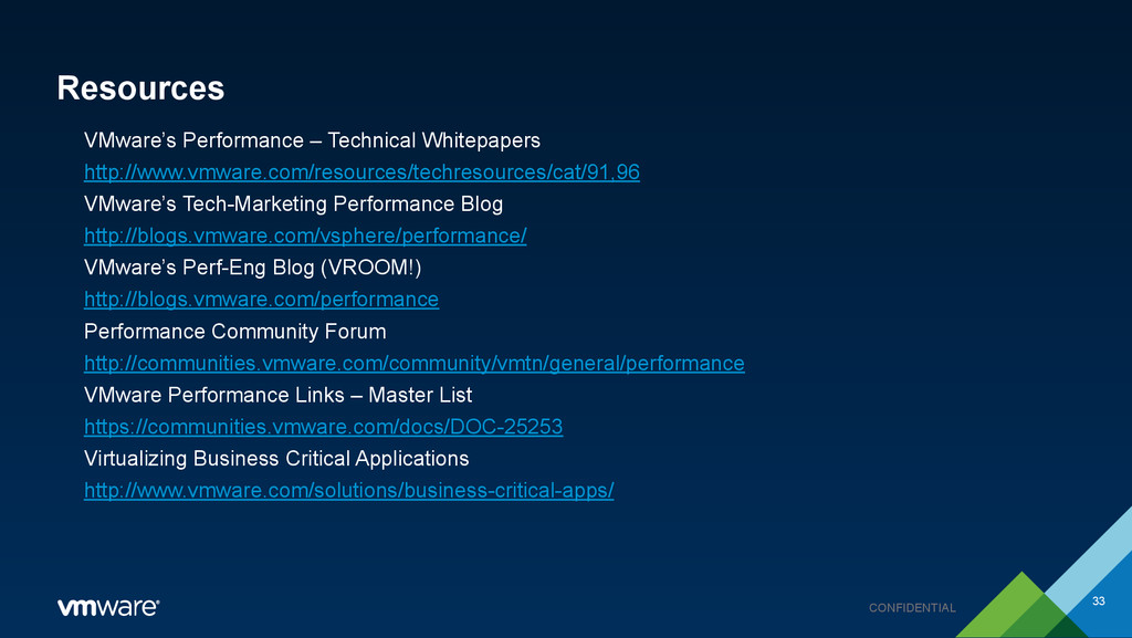 CONFIDENTIAL Resources VMware's Performance – T...