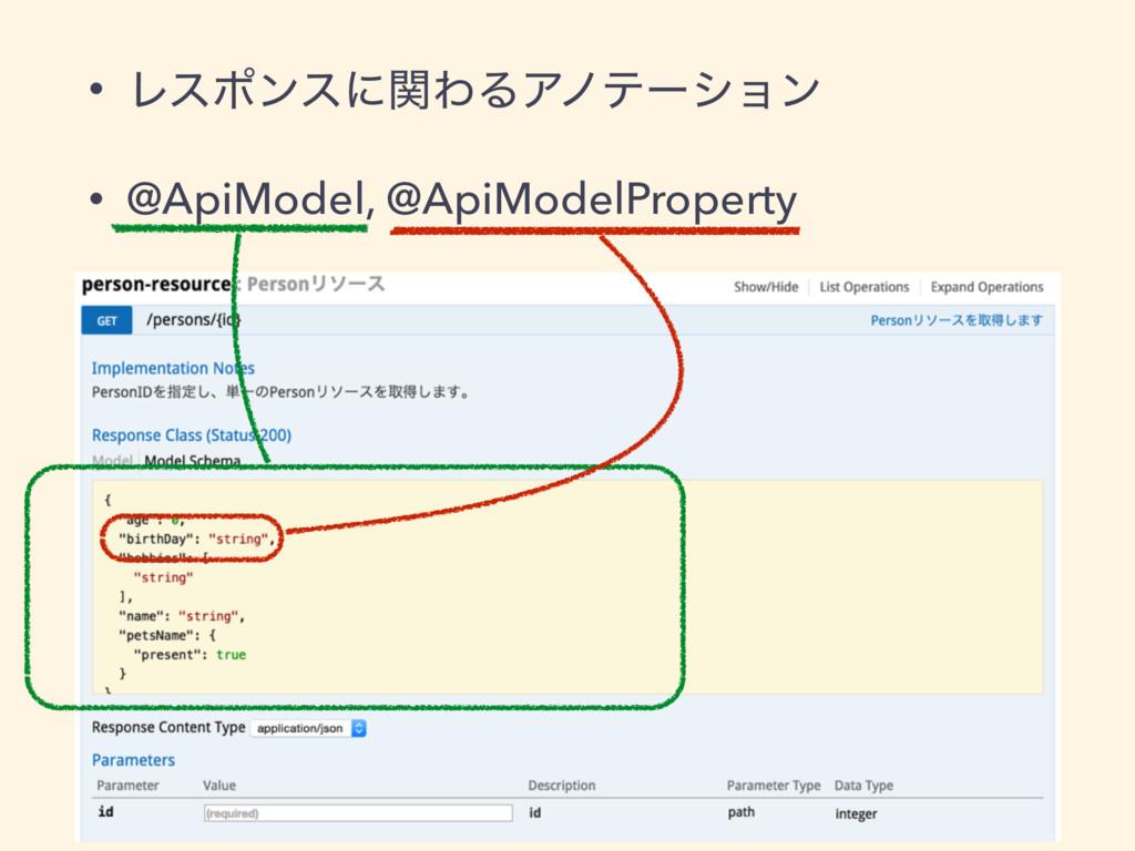 • ϨεϙϯεʹؔΘΔΞϊςʔγϣϯ • @ApiModel, @ApiModelProper...