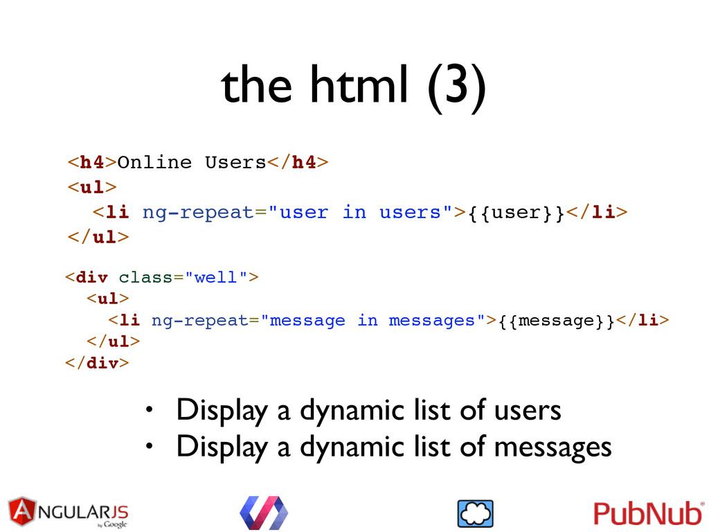 the html (3) <h4>Online Users</h4>! <ul>! <li n...