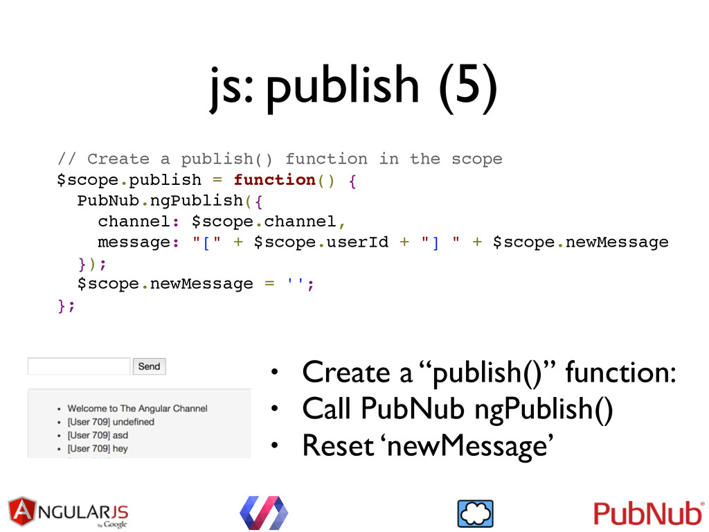 // Create a publish() function in the scope! $s...