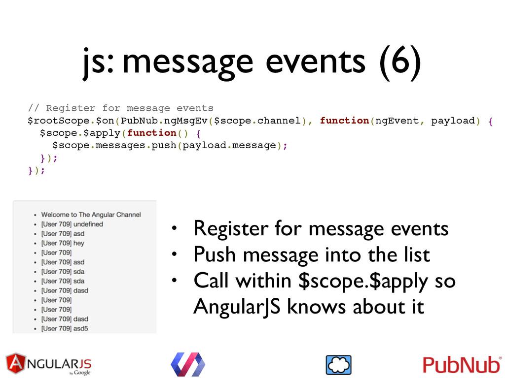 js: message events (6) // Register for message ...