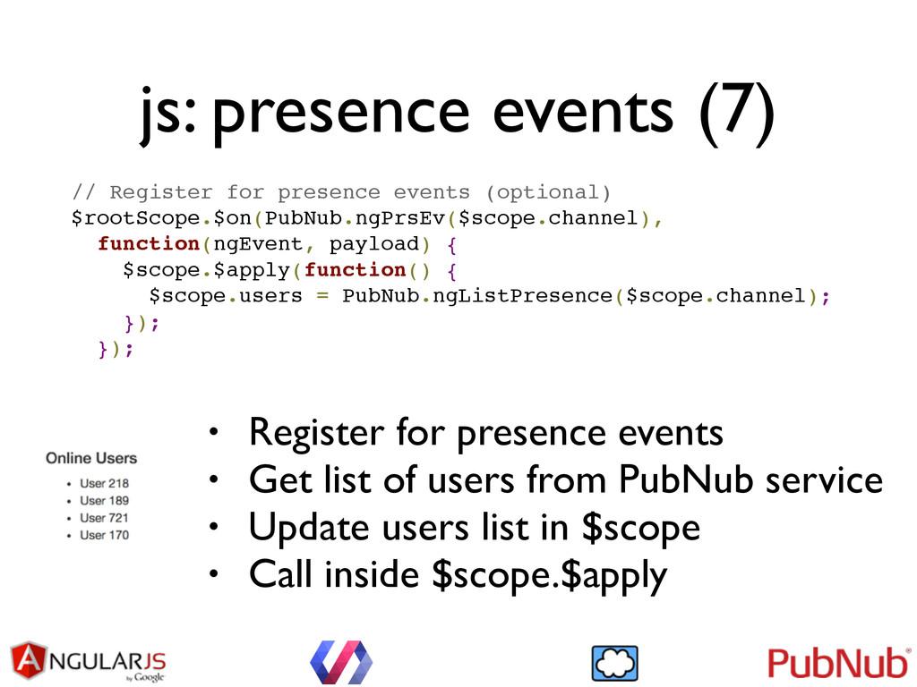 js: presence events (7) // Register for presenc...
