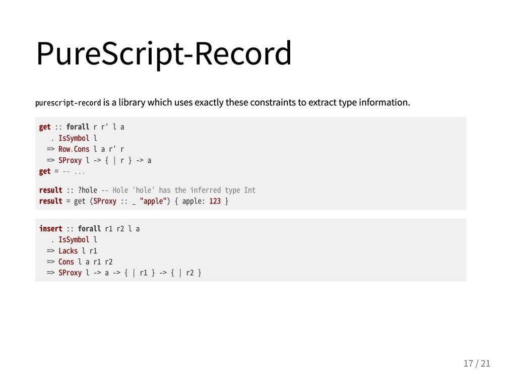 PureScript-Record purescript-recordisalibrar...