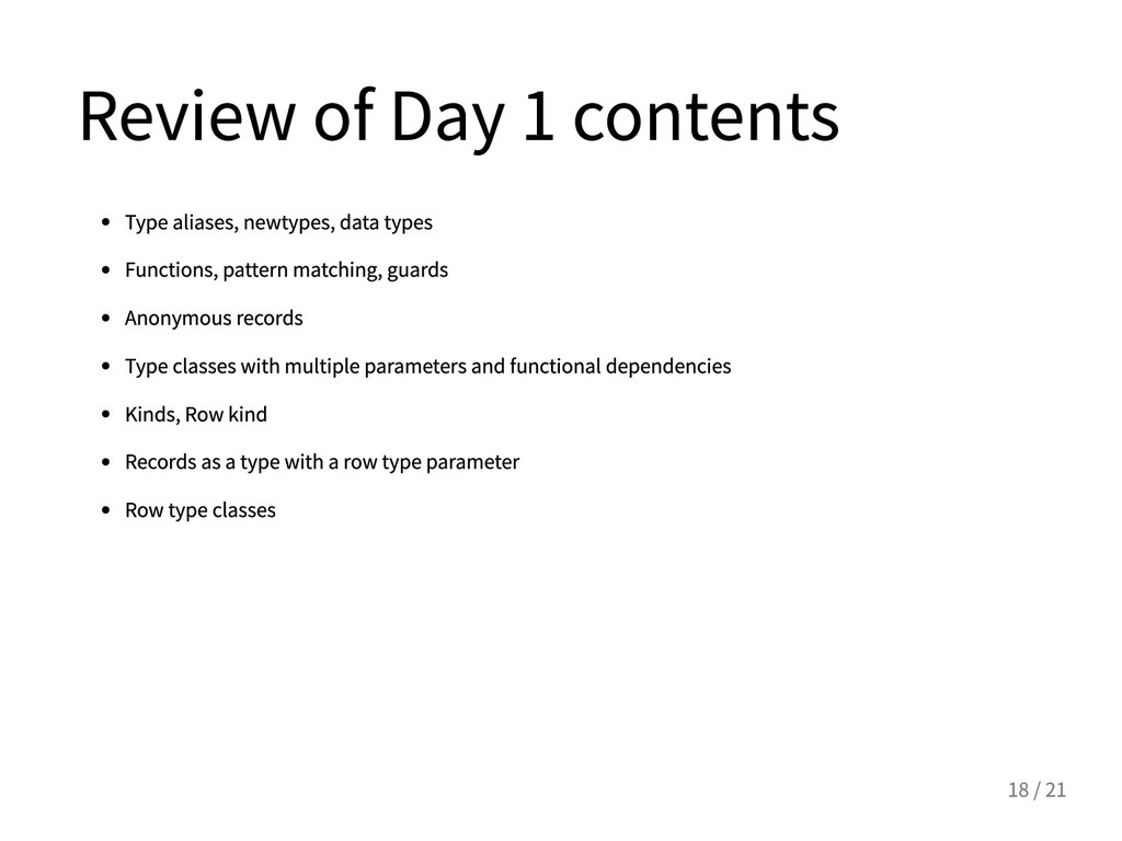ReviewofDay1contents Typealiases,newtypes...
