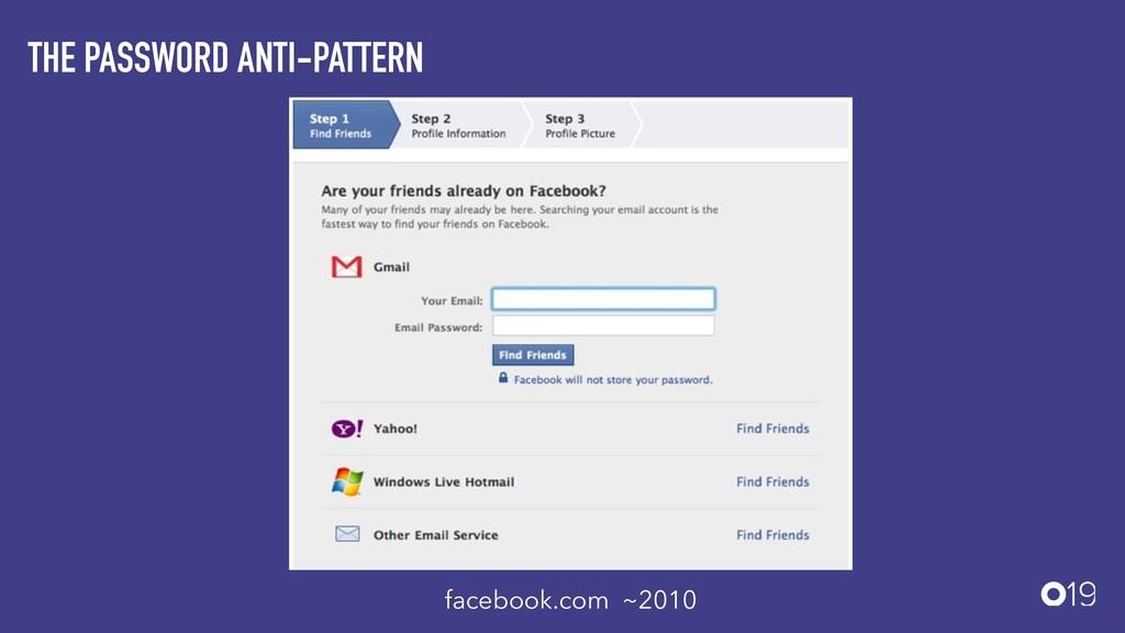 THE PASSWORD ANTI-PATTERN facebook.com ~2010