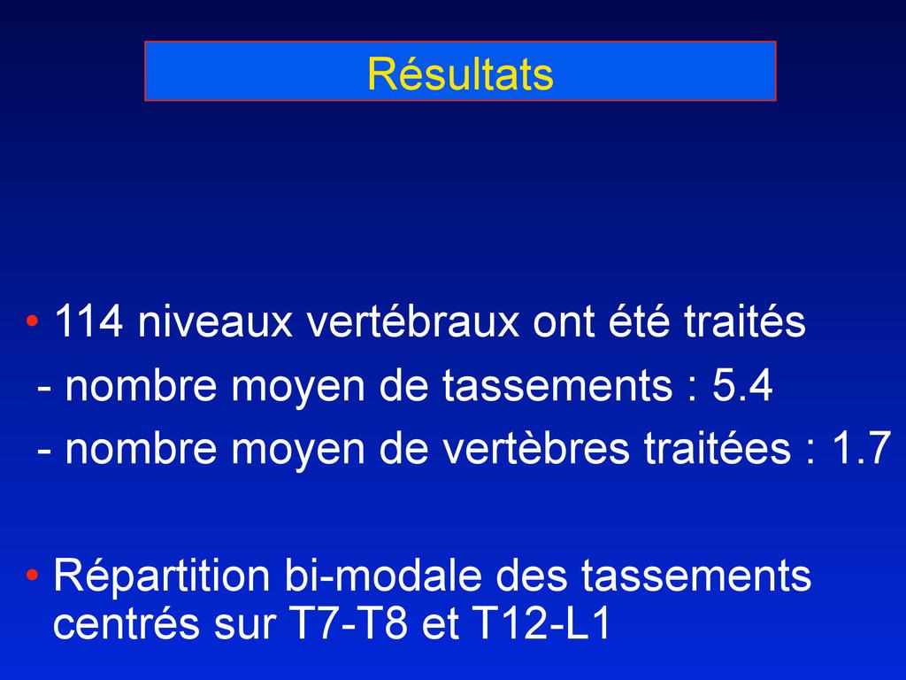 Résultats • 114 niveaux vertébraux ont été trai...