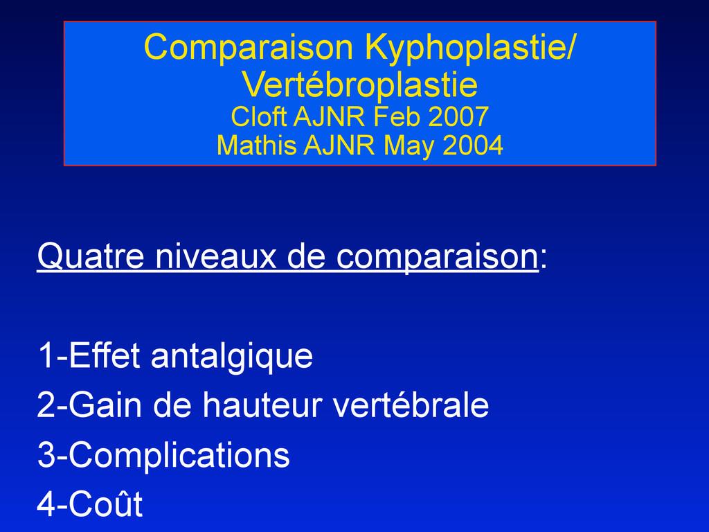 Comparaison Kyphoplastie/ Vertébroplastie Cloft...