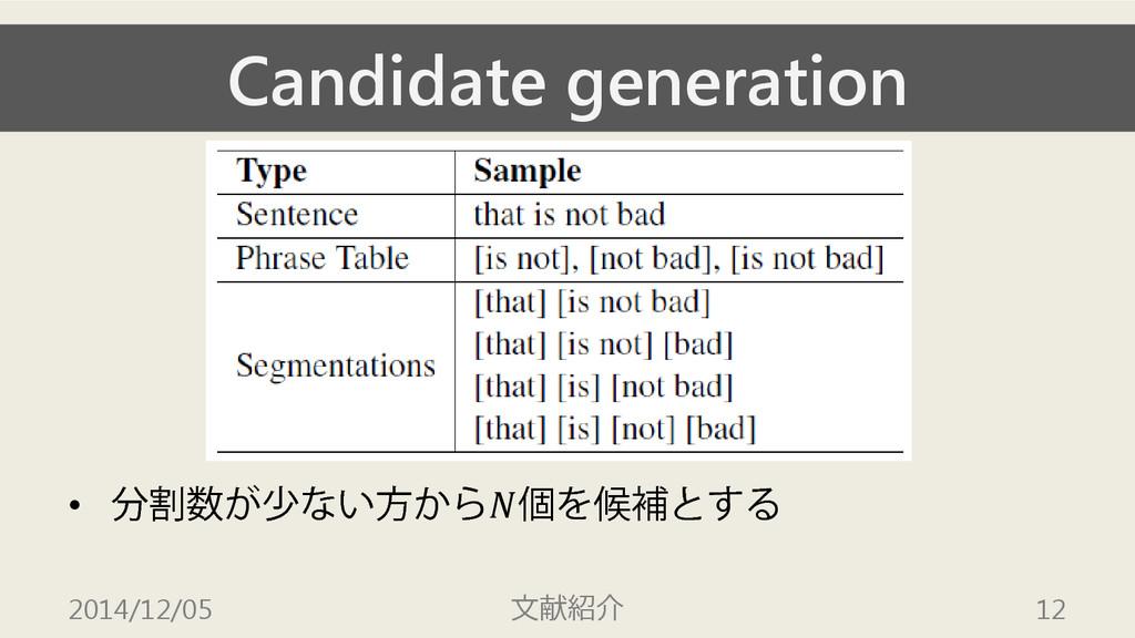 Candidate generation • 分割数が少ない方から個を候補とする 2014/1...
