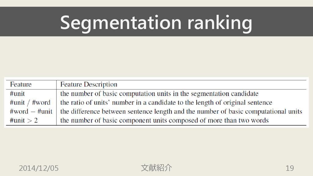 Segmentation ranking 2014/12/05 文献紹介 19