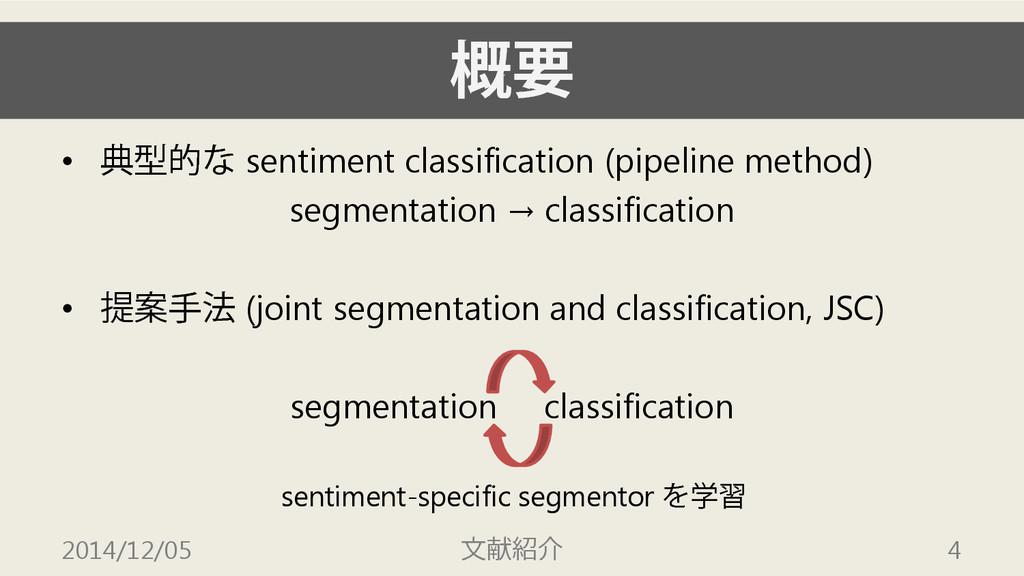 概要 • 典型的な sentiment classification (pipeline me...