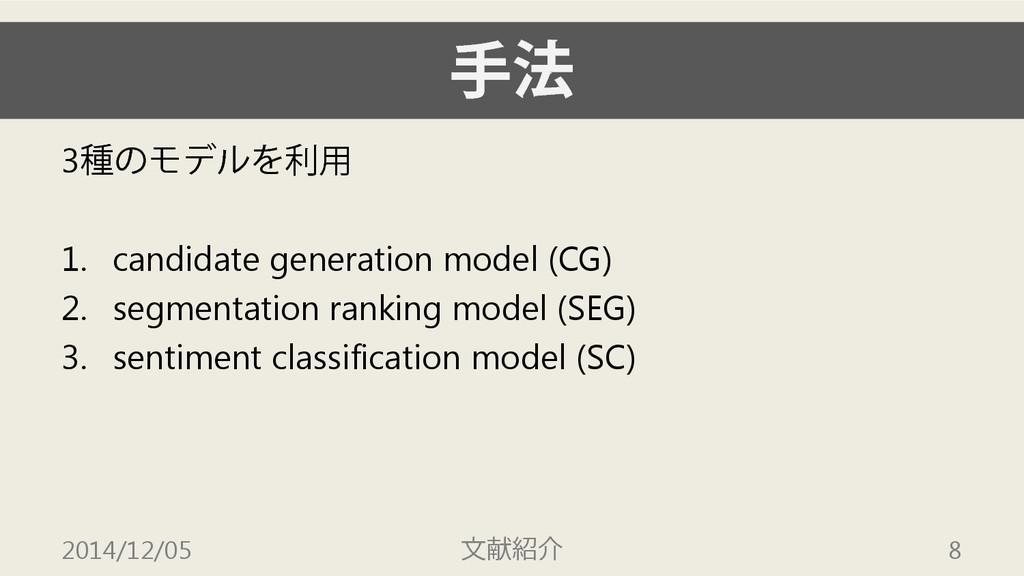 手法 3種のモデルを利用 1. candidate generation model (CG)...