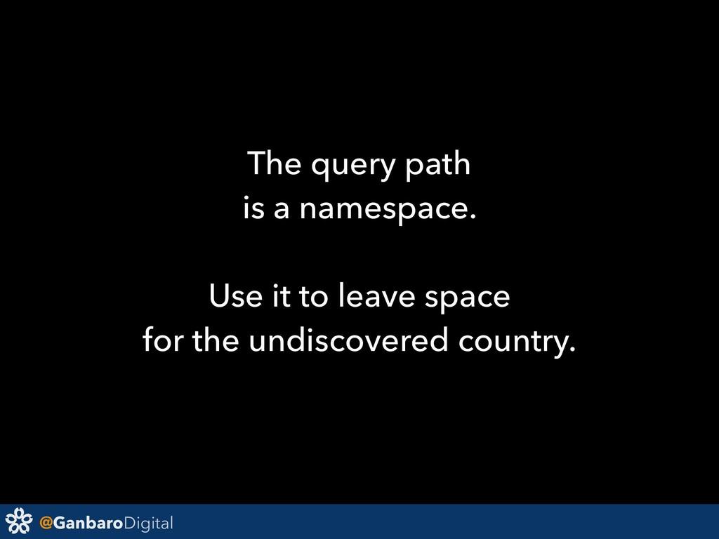 @GanbaroDigital The query path is a namespace. ...