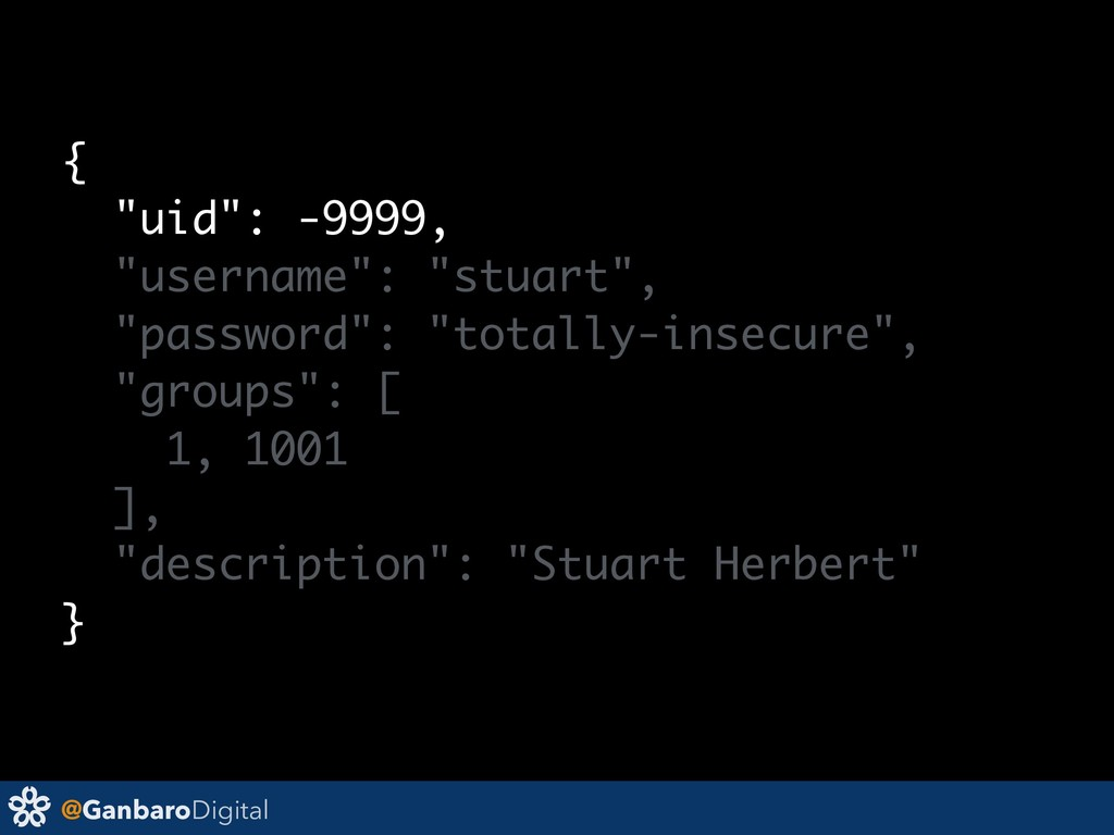 "@GanbaroDigital { ""uid"": -9999, ""username"": ""st..."