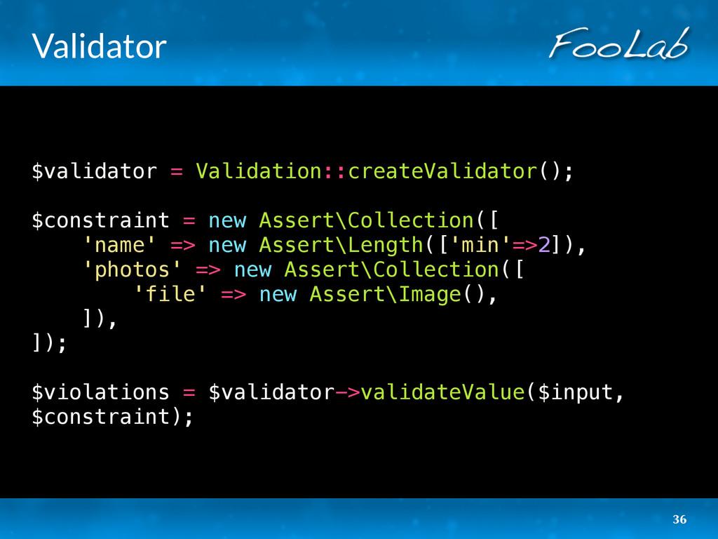 Validator $validator = Validation::createValida...